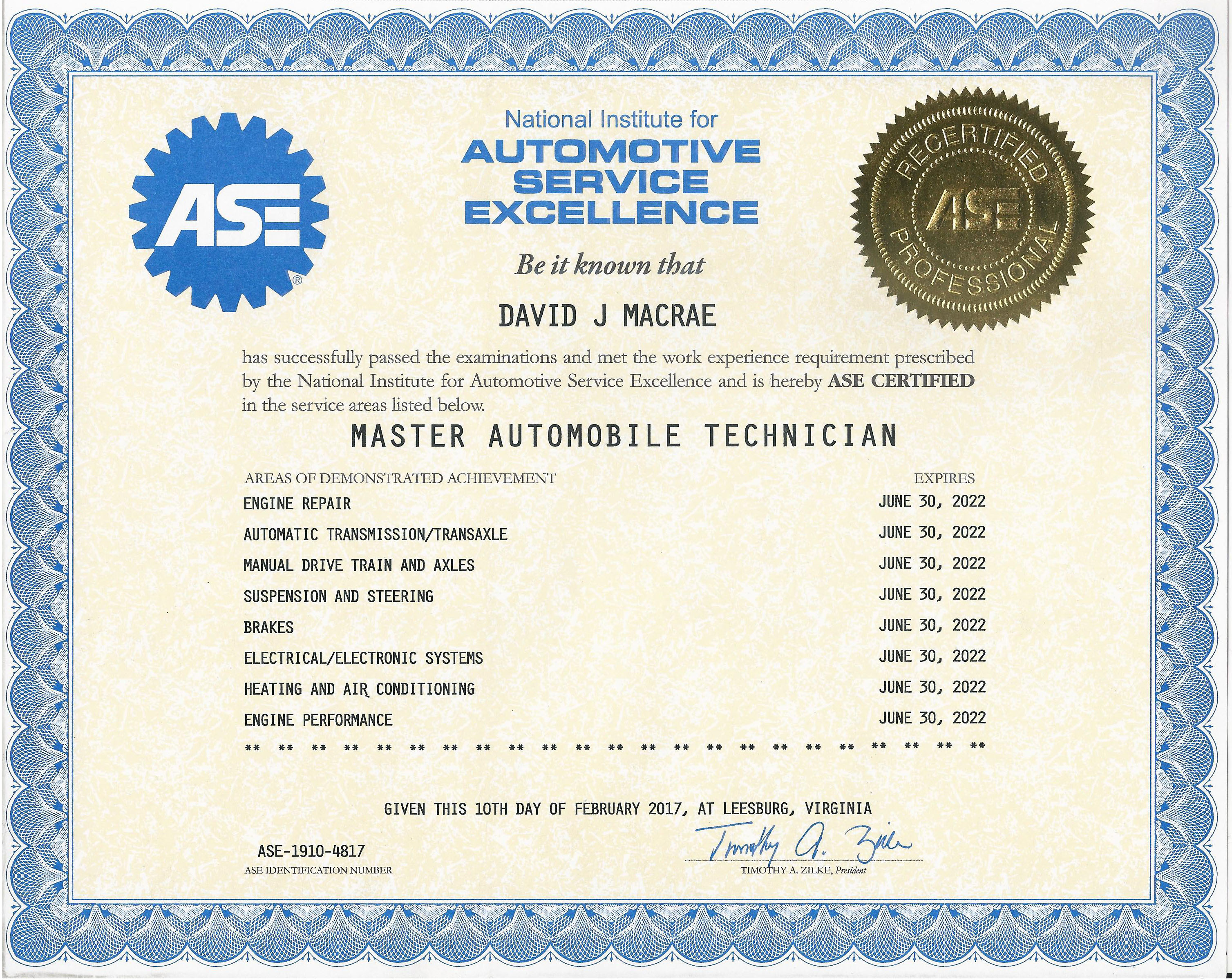 Second Ultra Automotive Repair Master Technician ASE Certificate