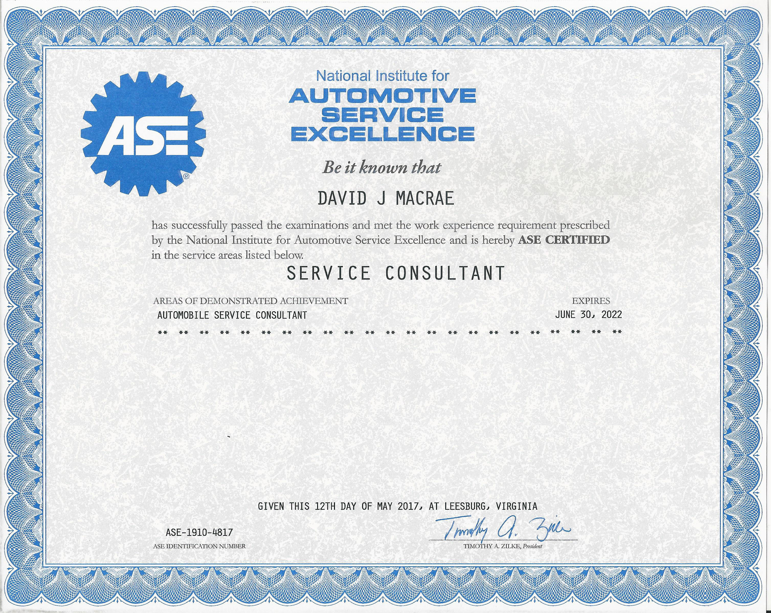 Ultra Automotive Repair Service Consultant ASE Certificate