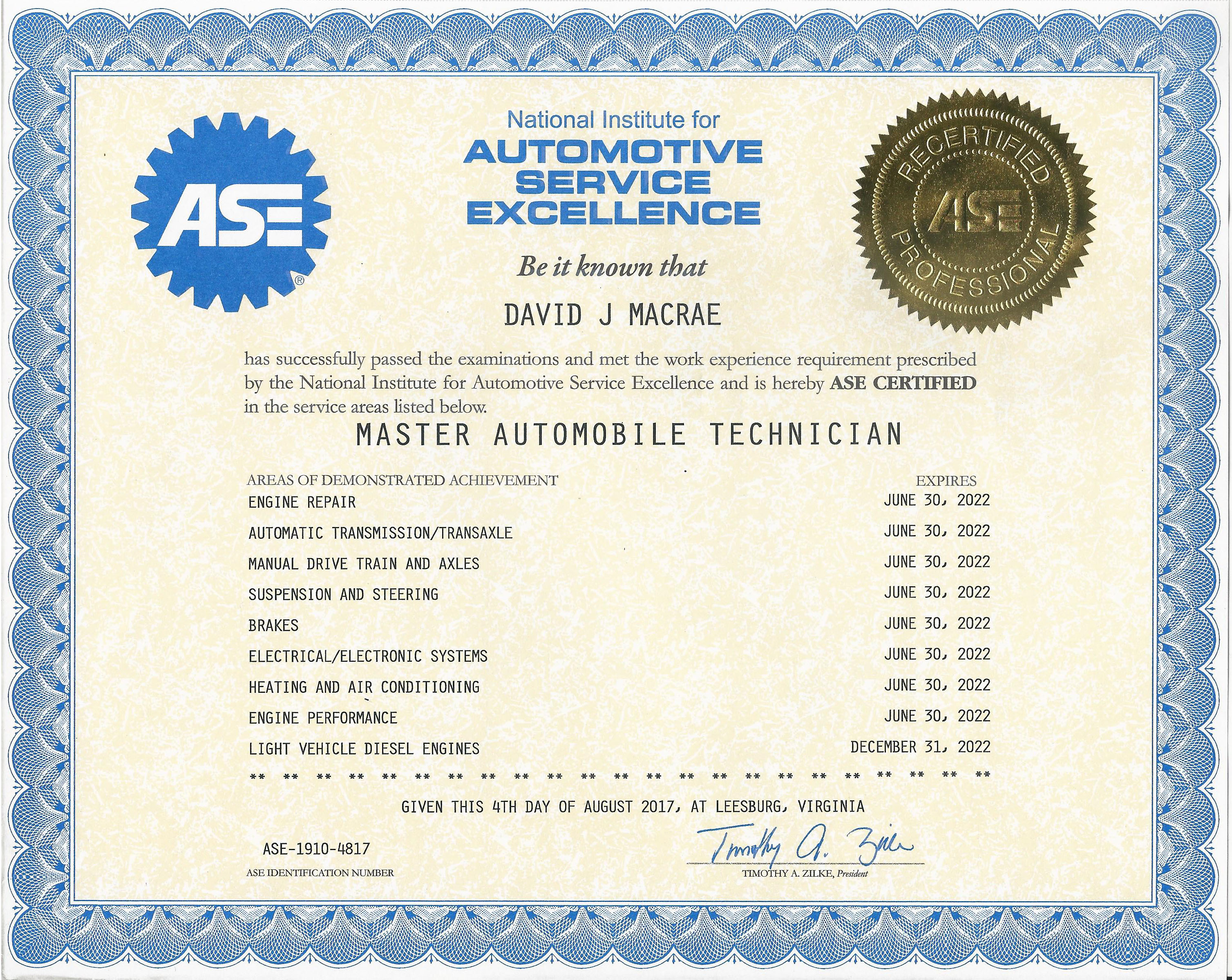 Ultra Automotive Repair Master Technician ASE Certificate