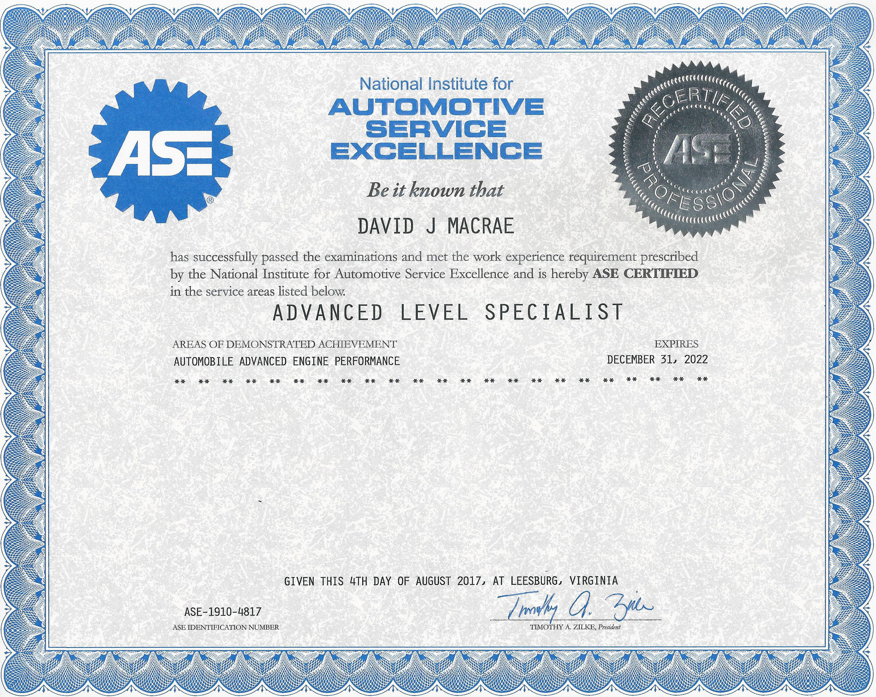 Ultra Automotive Repair Advanced Level Specialist ASE Certificate